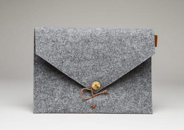 Laptop Cover Light Grey Wool